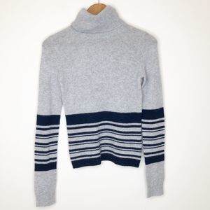 Theory Cashmere Striped Turtleneck Sweater, M